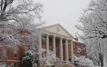 NIH Bldg. 1 in the snow